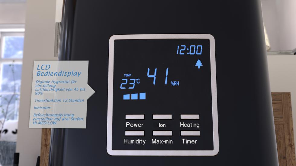 Vier Funktionen: Warm, Kalt Luftbefeuchten, mit oder ohne Luftreinigung.