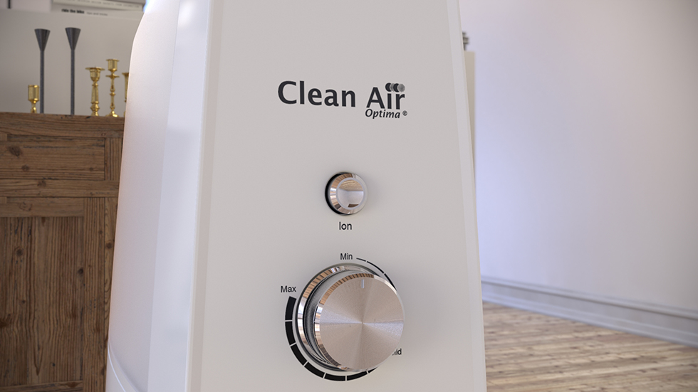 Der eingebaute Ionisator produziert negative Sauerstoffionen, wodurch die Raumluft zusätzlich zur Befeuchtung gereinigt und erfrischt wird.