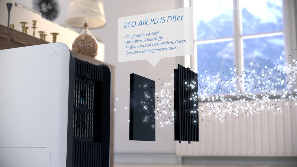 Der neue Clean Air Optima Luftwäscher CA-803 erfüllt zwei Funktionen. Dieses hocheffektive Luftwäschersystem befeuchtet trockene Innenraumluft und reinigt sie gleichzeitig.