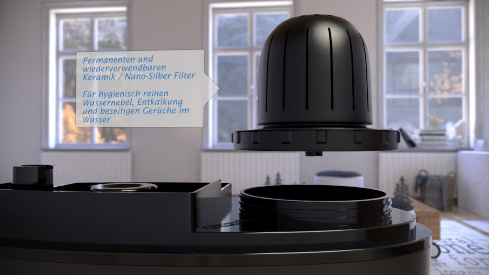 Der Integrierte Ionisator reinigt und erfrischt die Luft zusätzlich mit negativen Sauerstoffionen.