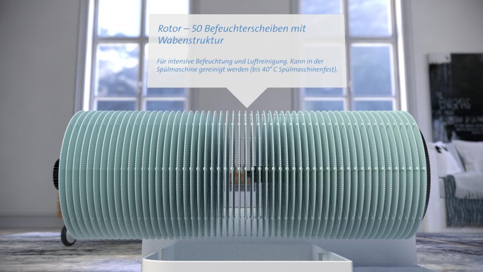 Dieses Gerät der neuen Generation Clean Air Optima Luftwäscher verfügt über hocheffektive Filter.