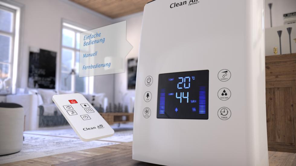 Effektive Luftbefeuchter mit Ionisator, kalter und warmer Zerstäuber, regelt automatisch die optimale Luftfeuchtigkeit und verbessert die Luftqualität