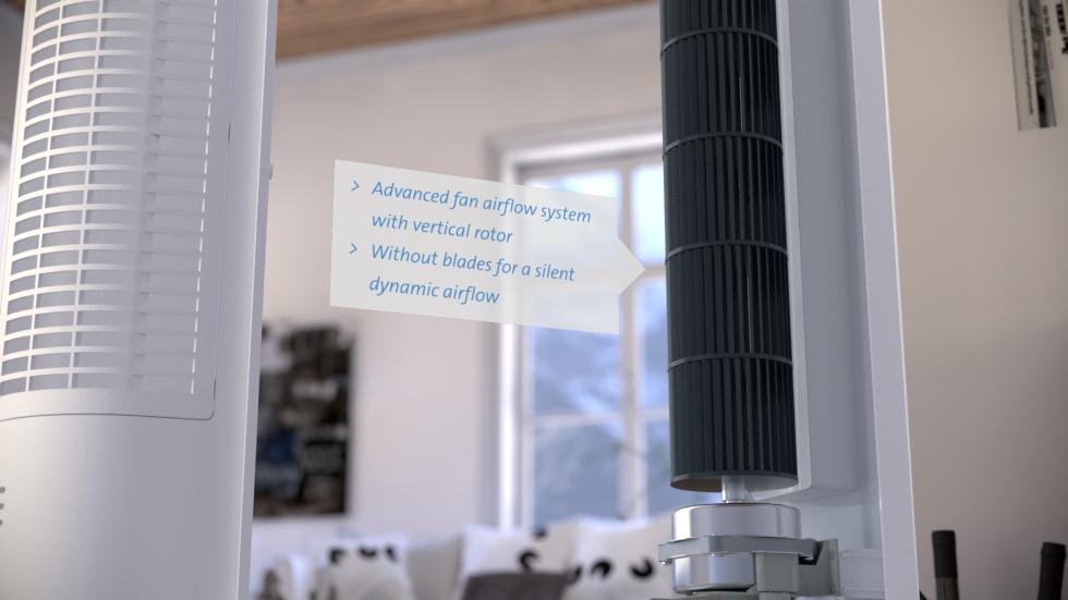 Der luxuriöse Turmventilator CA-405 ist ein kompakter Ventilator ohne Schaufeln