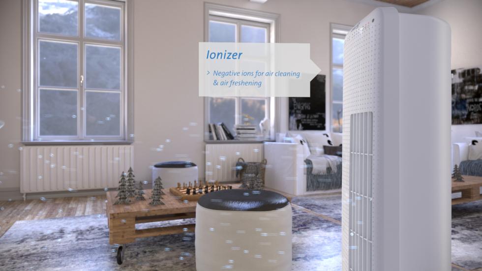 Der eingebaute Ionisator produziert negative Sauerstoffionen wodurch die Innenraumluft zusätzlich zur kühlenden Ventilatorfunktion