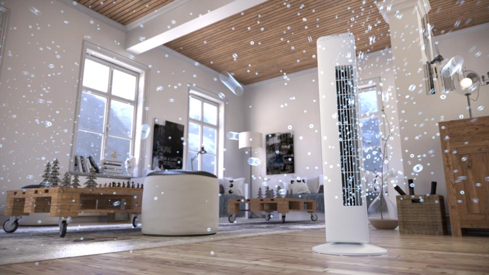 Der Turmventilator mit Ionisator CA-405 von Clean Air Optima bringt eine erfrischende Brise in Wohn- und Arbeitsräume.