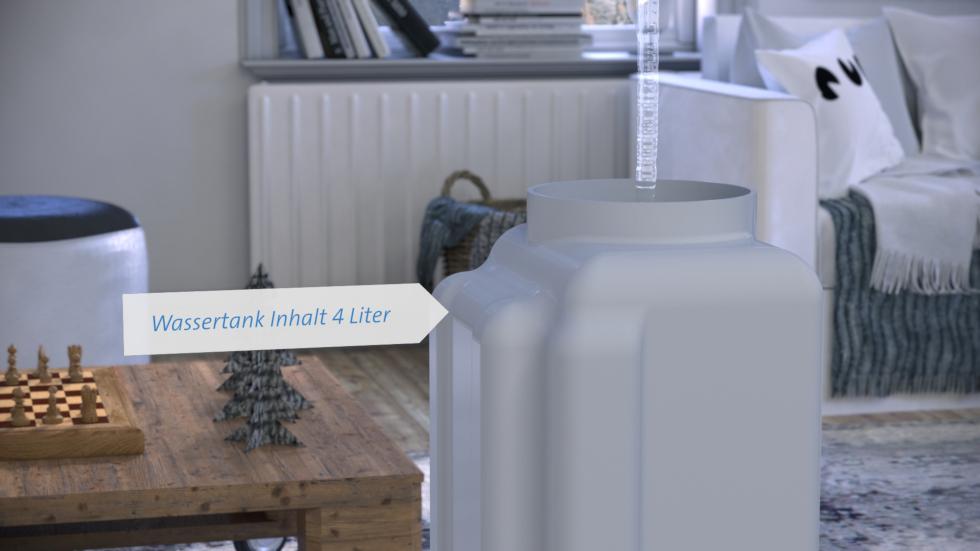 Der Clean Air Optima Luftwäscher CA-803 funktioniert nach dem hochwirksamen Luftbefeuchtungsprinzip der Kaltverdunstung!